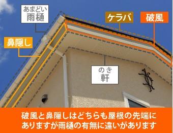 破風と鼻隠しはどちらも屋根の先端にあり、雨樋の有無で名前が異なります