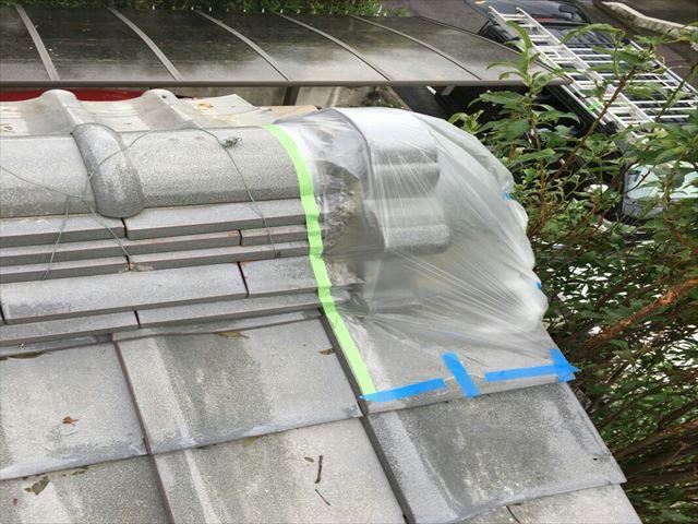 台風被害 瓦補修