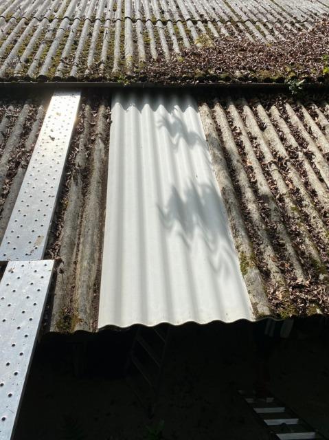土岐市の工房にて経年劣化した大波スレートの交換・補修をしました