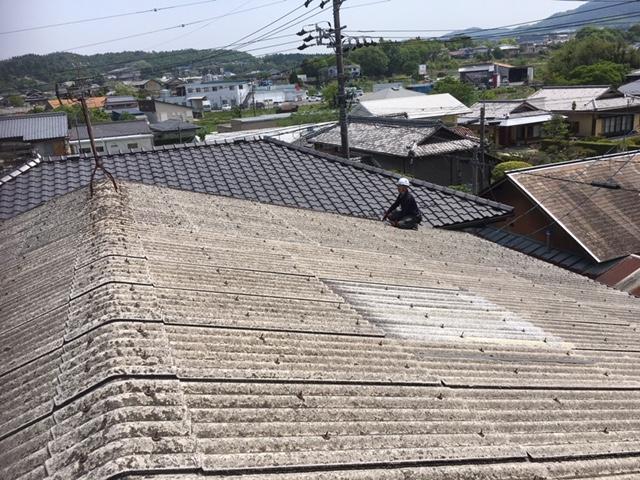 多治見市でヒビ割れた屋根を現地調査しました。